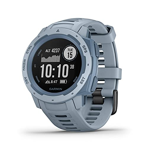 Garmin Instinct, Rugged Outdoor Watch with GPS, Features GLONASS and Galileo, Heart Rate Monitoring and 3-axis Compass, Seafoam Light Blue (Renewed)