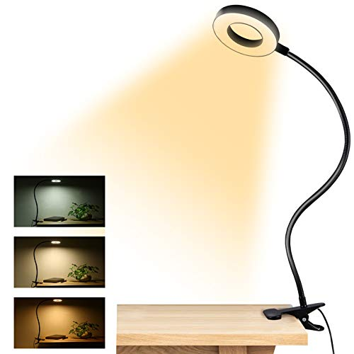 Clip on Light Reading Lights , 48 LED USB Desk Lamp with 3 Color Modes 10 Brightness, Eye Protection Book Clamp Light , 360 ° Flexible Gooseneck Clamp Lamp for Desk Headboard and Video Conference