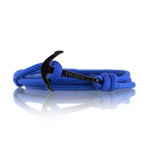 VIKINGS Ancla Unisex Clásica Pulsera, Armband Classic:Azul - Negra