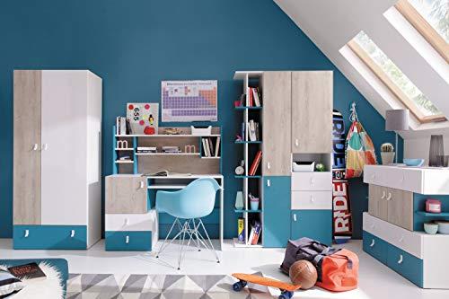 """Jugendzimmer Komplett - Set C\""""Aalst\"""", 6-teilig, Eiche/Weiß/Blau"""