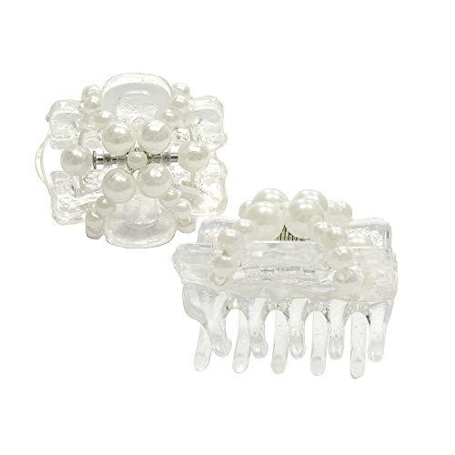 Neu: Haarschmuck Haarklammer transparent Perle Weiß klein