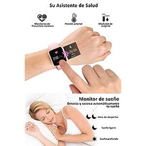 BANLVS Smartwatch, 1.4 Inch Reloj Inteligente IP67 con Pulsómetro Presión Arterial, Monitor de Sueño Podómetro Contador de Caloría, Smartwatch Reloj Inteligente Deporte para Hombre Mujer Rosa