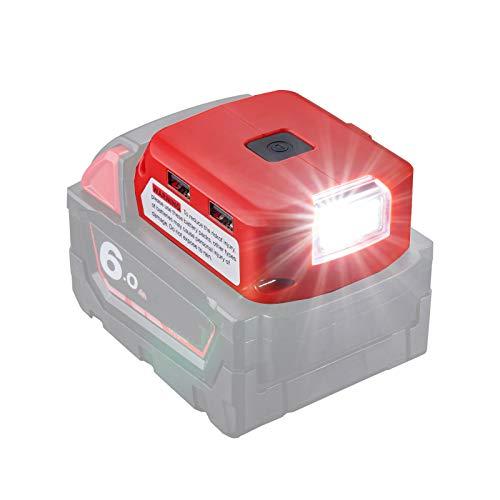 Adattatore batteria per Milwaukee 18 V agli ioni di litio, connettore DC e faro da lavoro a LED e doppio caricatore USB, alimentatore compatibile con Milwaukee 49-24-2371 M18