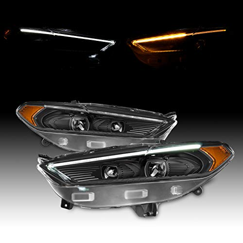 For 2013-2016 Ford Fusion LED DRL Black Bezel Dual Projector Headlight Switchback Signal Lamp Assembly Left + Right