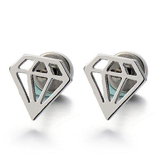A Forma di Diamante, Orecchini da Uomo da Donna, Orecchini a Lobo, Acciaio Inossidabile, 2 Pezzi