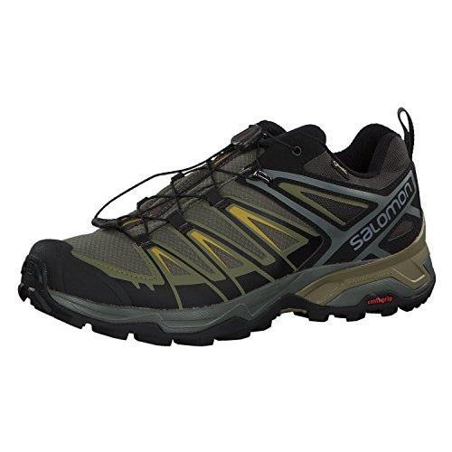 SALOMON X Ultra 3 GTX, Chaussures de Randonnée Basses Homme, Castor Gray Beluga Green Sulphur, 43 1/3 EU