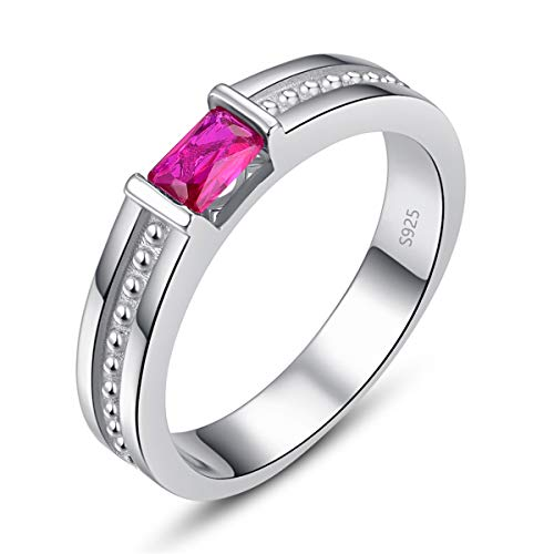 BONLAVIE Men's Anniversary Rings Created Red Ruby White Cubic Zirconia CZ 925 Sterling Silver Gemstone Bands for Boy Size 12