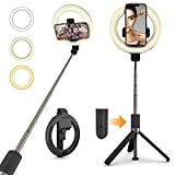 PEYOU Selfie Stick with LED Ring Light, Extendable Selfie Stick Tripod with Wireless