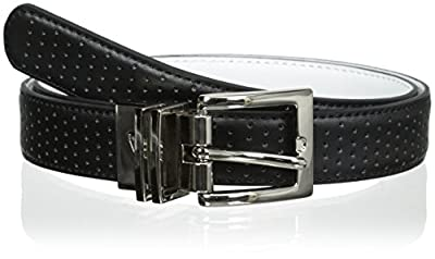 Nike Women's Perforated to Smooth Reversible Belt, Black/White, Small