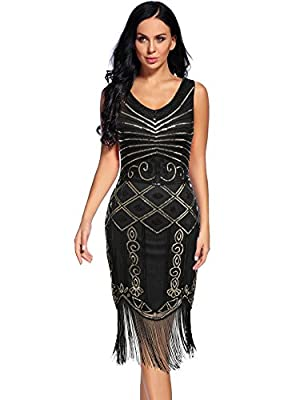 Vintage 1920s Gatsby Dress Inspired Sequin Beaded Tassel Cocktail Flapper Dress