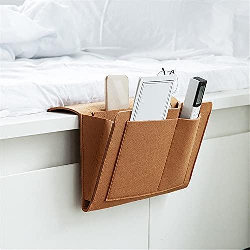 Bolsa de almacenamiento para mesilla de noche, de fieltro, para sofá, con mando a distancia, organizador de almacenamiento para cama, color marrón