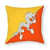 Bhutan-Flagge Kissenbezug, quadratisch, dekorativer Kissenbezug für Sofa, Couch, Zuhause, Schlafzimmer, Indoor Outdoor, niedlicher Kissenbezug 45,7 x 45,7 cm