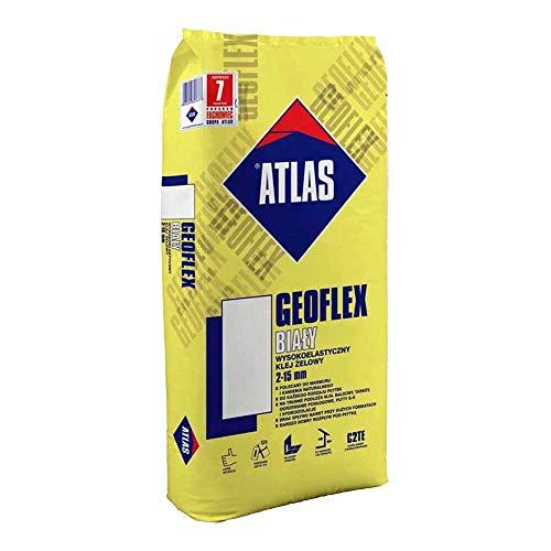 Naturstein Fliesenkleber Flexkleber innen aussen Bodenheizung GEL C2TE ATLAS Geoflex Weiß 25Kg