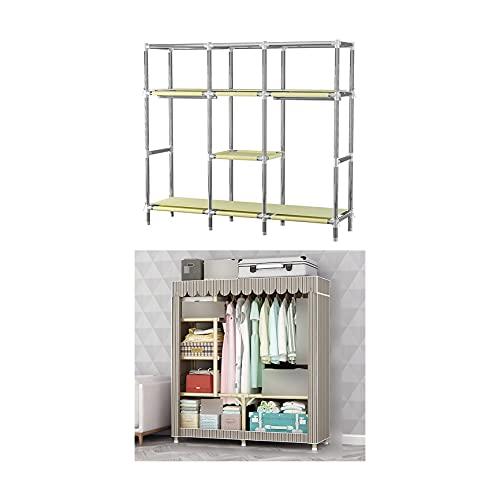 LXZFJW Armario Closet Organizador Plegable para Ropa Ropero Resistente Al Polvo Guardarropa(Size:128×45×170cm,Color:Rayas)