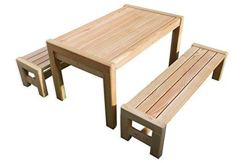 Gartenpirat Kindersitzgruppe Sarina mit Tisch 2X Bank aus Holz massiv Lärche Kindermöbel in Premiumqualität