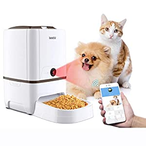Iseebiz Automatic Pet Feeder with Camera, 6L App Control Smart Feeder Cat Dog Food Dispenser, 2-Way Audio, Voice Remind, Video Record, 6 Meals a Day for Medium Large Cats Dogs, Compatible with Alexa