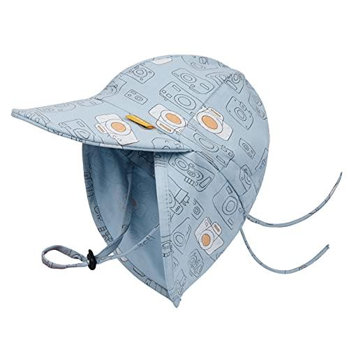 FURTALK Kleinkind Sonnenhut UPF 50+ Ganztägiger UV-Schutz Kappe Mädchen & Jungen Sommer Kappe mit Verstellbarer Kinnriemen und Halsklappen (Mehrfarbig02, 0-2Jahre)