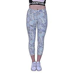 YOGAIR Ultra Soft Printed Capries for Women Workout Yoga Capri Athletic Tummy Control Capries