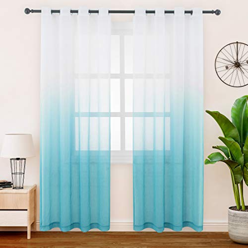 FLOWEROOM Gardinen/Vorhang Transparent Voile für Schlafzimmer und Wohnzimmer, 140 x 225 cm, Blaugrün – Gardine Farbverlauf Fenster Vorhänge mit Ösen, Sheer Curtains 2er Set