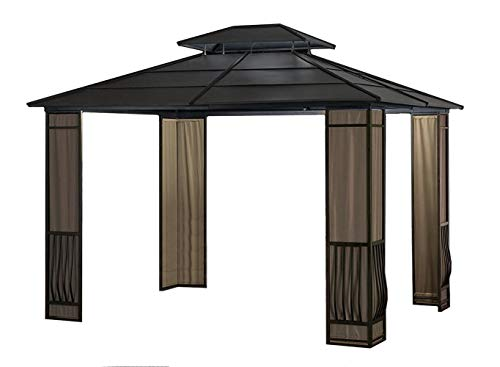 Sunjoy Expand Your Outdoor Living Space with a 10 x 12 Heavy Duty Galvanized Steel Hardtop Wyndham Patio Gazebo with Mosquito Netting