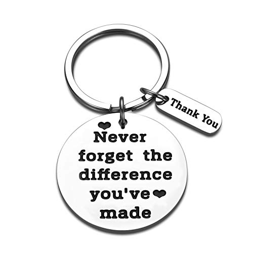Coworker Leaving Appreciation Gifts Keychain for Women Men Colleague Teacher Coach Retirement Thank You Gifts for Boss Mentor Leader Birthday Christmas Keyring Never Forget The Difference You've Made