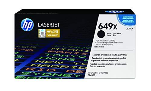 HP 649X CE260X Negro, Cartucho Tóner de Alta Capacidad Original, de 17.000 páginas, para impresoras HP Color LaserJet Enterprise CP4525dn, CP4525n y CP4525xh