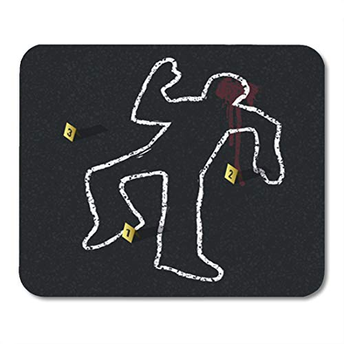 Semtomn Gaming Mouse Pad Yellow Outline Crime Scene Body Chalk Dead Murder Man 9.5'x 7.9' Decor Office Nonslip Rubber Backing Mousepad Mouse Mat