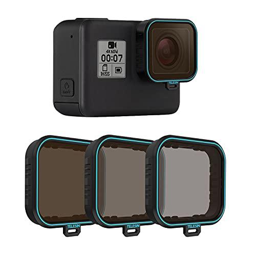 TELESIN Filtro de lente GoPro,paquete de 3 unidades ND8,ND16,ND32,kit de filtro de lente de densidad neutra para GoPro Hero 7 Black Hero 2018 Hero 6/5 negro,accesorios para lentes de cámara GoPro