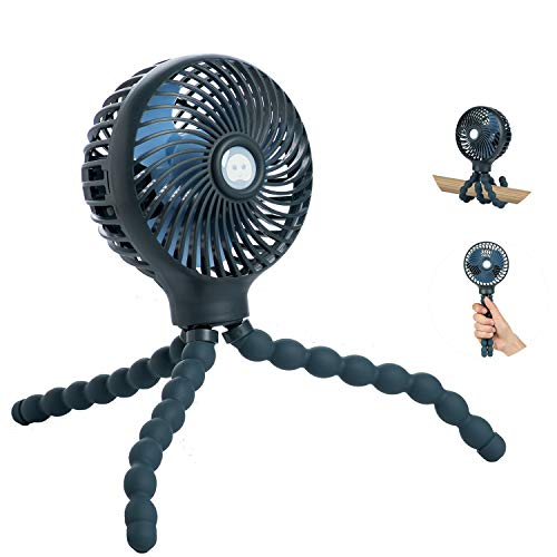 Mini Baby Stroller Fan, Handheld Personal Portable Fan with Flexible Tripod for Stroller Student Bed Desk Bike Crib Car Rides, USB or Battery Powered, Safe Quiet and Long Lasting Charge (Dark Blue)
