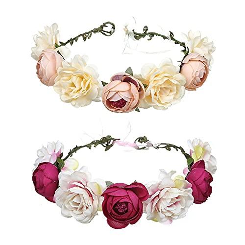 Dzmuero Coronas de Flores para Niñas Diadema Flores Mujer Coronas de Flores para el pelo para...