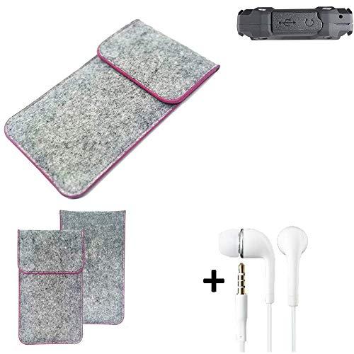 K-S-Trade Filz Schutz Hülle Für Simvalley Mobile SPT-210 Schutzhülle Filztasche Pouch Tasche Hülle Sleeve Handyhülle Filzhülle Hellgrau Pinker Rand + Kopfhörer