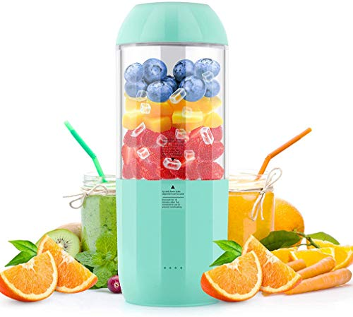 CHERRIESU Mini Blender, Portable Jucier Cup 350ml Personal Blender Smoothie Maker Fruit Mixing Machine with Six Blades USB Rechargeable for Home Office Sports Outdoors