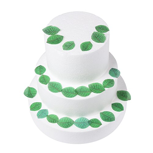 GEORLD 24Pcs Edible Green Leaves Cake & Cupcake Toppers Decoration