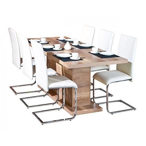 Myca - Table Pied Central avec allonge
