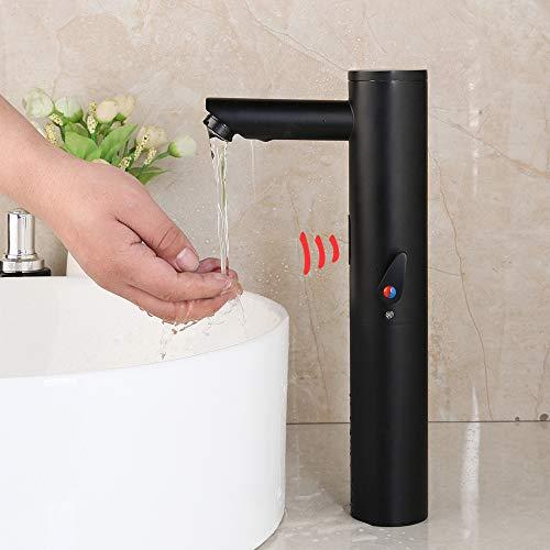 WOOLIY Grifos para Sensores, Grifos para Lavabos con Sensor Táctil Automático para Baño, Grifo De Latón Macizo Negro Mate, Montado En Cubierta, Grifo Mezclador para Agua Fría Y Caliente