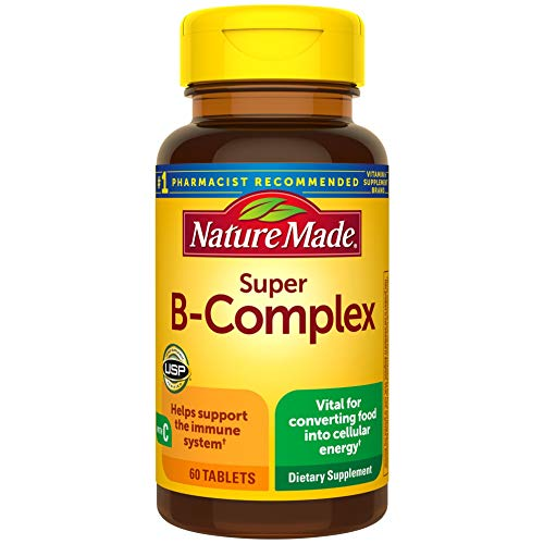 Nature Made Super B Complex with Vitamin C and Folic Acid, Dietary Supplement for Cellular Energy Support, 60 Tablets, 60 Day Supply
