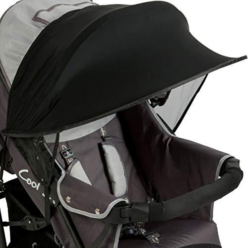 Baby Kinder Sonnenverdeck Sonnenschutz UV 50+ Universal für Buggy Sportwagen Kinderwagen mit Tasche (SCHWARZ)