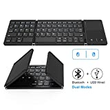 Foldable Bluetooth Keyboard, Dual Mode Bluetooth & USB Wired Rechargable Portable Mini BT Wireless Keyboard with Touchpad Mouse for Android, Windows, PC, Tablet-Black