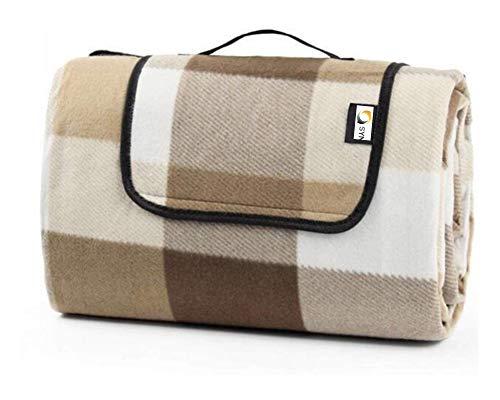 Sync'T Extra große Picknickdecke aus Fleece, Strandmatte mit wasserdichter Unterseite, Anti-Sand, 200 x 200 cm, XXL, braune Tartan-Streifen