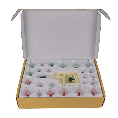 Feibrand Schröpfen Set mit 24 Schröpfgläser aus Kunststoff mit Vakuumpumpe