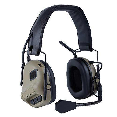 Taktischer Kopfhörer Gehörschutz Kopfhörer Kopfhörer für Military Airsoft Paintball Jagd Aktivitäten-(TAN)