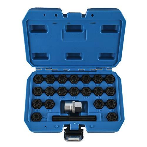 BELEY 22-teiliges Radschloss-Schlüssel-Entfernungs-Set für VW, Audi, Volkswagen, Rad-Diebstahlsicherung, Radmuttern, Schraubenentferner, Steckschlüssel-Set mit 12,7 mm Stecknuss-Adapter