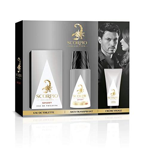 SCORPIO Collection Coffret 3 produits Sport - Eau de toilette flacon 75ml, Déodorant atomiseur 150ml et Gel crème pour visage 50ml
