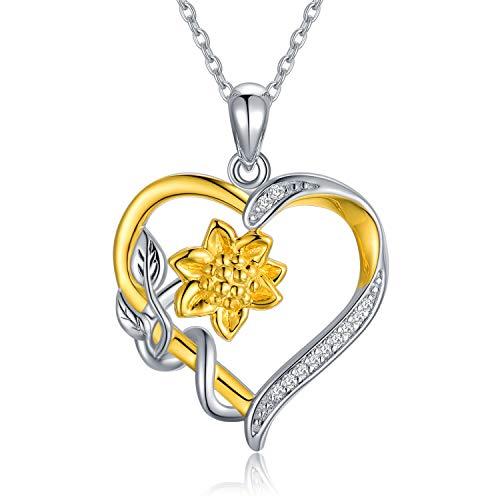 Sunflower Diamond Heart Necklace