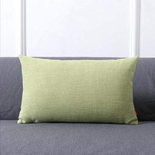Almohada de color sólido para el hogar, sofá, almohada grande, accesorios para el coche, cojín lumbar, simple, verde, 30 x 50 cm