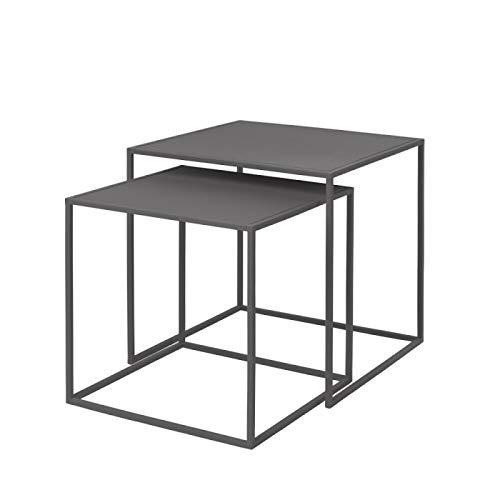 Blomus Unisex– Erwachsene Set 2 Beistelltische-65985 Beistelltische, Steel Gray, One Size