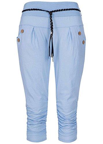 Styleboom Fashion® Damen Capri Hose Bindegürtel 2 Taschen deko Knöpfe hell blau, Gr:S