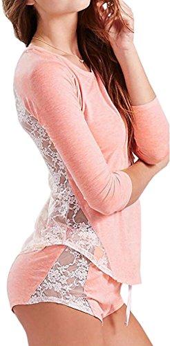 Carolilly Sexy Chic Ensemble de Pyjama Femme Tops Manches Longues Dos en Dentelle + Short Automne Hiver Noir Rose Bleu (L, Rose)