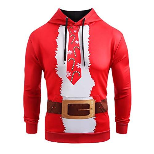 12222 Sudadera con Capucha de Cuello Alto para Parejas navideña Sudadera Corbata de Impresión Bolsillo Ropa Exterior Blusa con Capucha Camiseta Casual Deporte Fiesta Festiva Suéter Tops