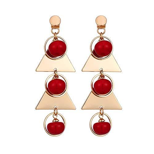 YUJUEE Metall Multi Layer Luxus Rot Grau Weiß Imitation Flachbild Ohrringe Elegante Modische Charme Party Hochzeit Lange,01